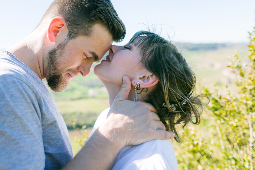Elopement in burgundy